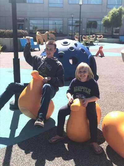 Ethan and Ireland at playground