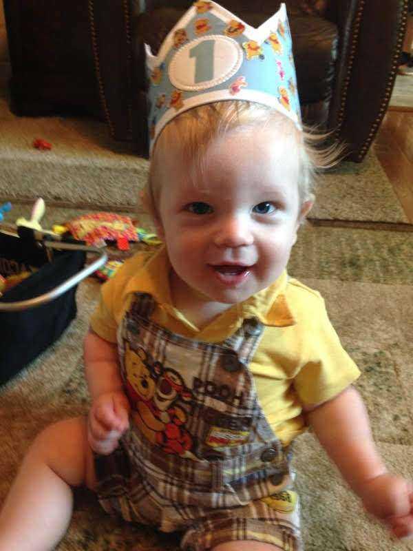 Wesley wearing his Birthday Crown