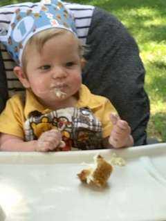 Wesley eating birthday cupcake