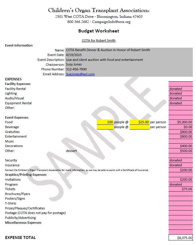 Budget Worksheets And Samples | Children'S Organ Transplant